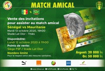 Match amical Sénégal-Mauritanie : les billets d'entrés fixés à 20.000 et 50.000 FCFA