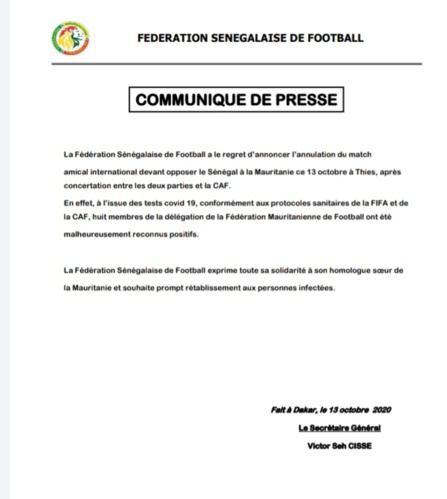Sénégal Mauritanie: Annulation du match après des cas de Covid-19 chez les Mourabitounes
