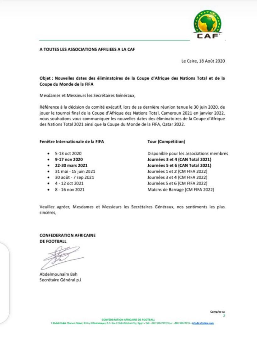 La CAF dévoile le calendrier des éliminatoires de la CAN 2021 et